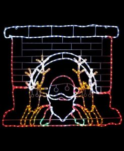 Santa & Reindeers In Fireplace LED Rope Light Silhouette 1.2m