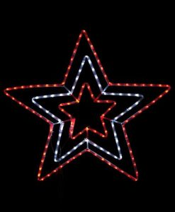 Red & Cool White Triple Star LED Rope Light Silhouette - 80cm