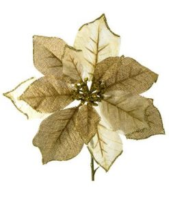 Gold & Ivory Organza Poinsettia Decorative Pick - 26cm
