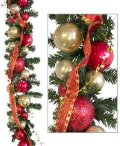 Pre-Decorated Red & Gold Bauble Garland - 2.7m