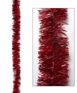 Red Metallic 6ply Tinsel Garland - 50mm x 5m