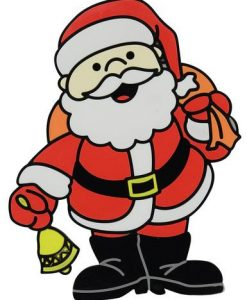 Santa With Bell & Sack Window Cling Decoration - 17cm