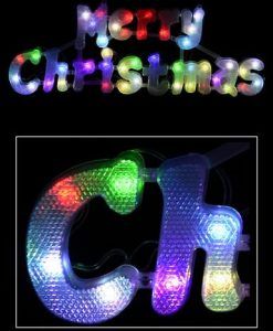 Multi Colour Auto Change Twinkle LED Merry Christmas Sign - 49cm