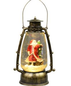 Santa In Antique Look Hurricane Lantern Snow Globe Ornament - 24cm