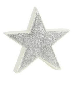 White Ceramic With Silverd Glitter Free Standing Star Ornament - 14cm