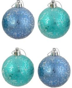 Turquoise & Aqua Sequinned Crackle Baubles - 6 x 60mm