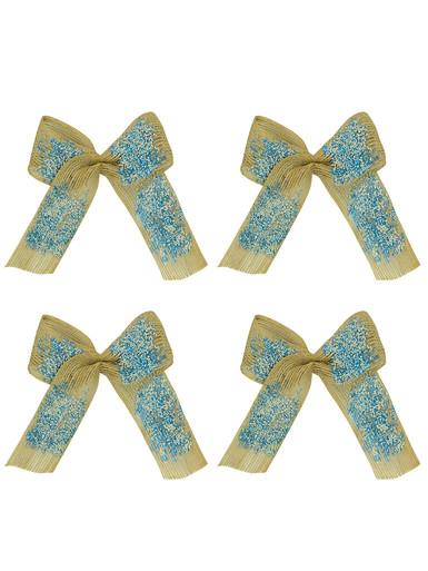 Silver & Turquoise Hessian Bows - 4 x 19cm
