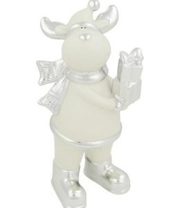 White Ceramic Standing Reindeer With Present Ornament - 21cm