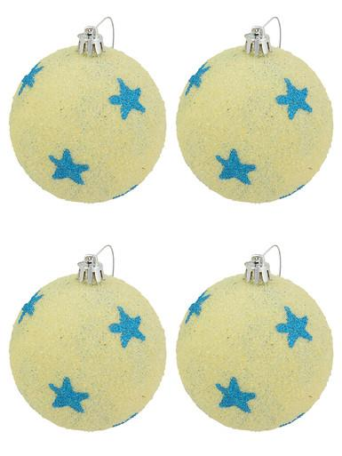 Sand Like Decorated With Turquoise Stars Baubles - 4 x 75mm