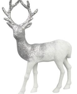 White With Silver Glitter Standing Buck Reindeer Ornament - 12cm