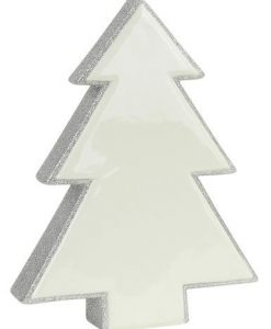 White Ceramic With Silver Glitter Free Standing Tree Ornament - 16cm