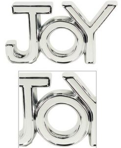 Ceramic White & Silver 'Joy' Freestanding Ornament - 22cm