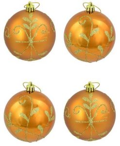 Shiny & Matte Copper Baubles With Gold Glittered Pattern - 6 x 80mm