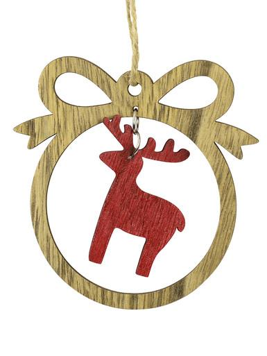MDF Bow With Red Reindeer Cut-Out Hanging Decoration - 10cm