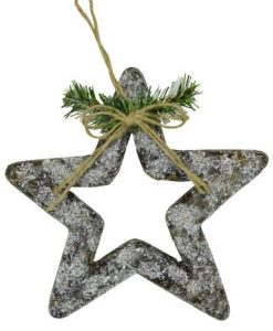 3D Styrofoam Decorated & Frosted Star - 21cm