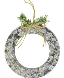 3D Styrofoam Decorated & Frosted Circular Wreath - 19cm