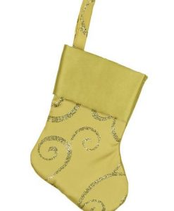 Mini Gold Satin With Gold Pattern Stocking Decorations - 6 x 15cm