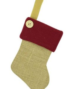 Mini Burlap Stocking Decorations - 6 x 15cm