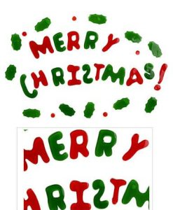 Merry Christmas With Holly Leaves & Berries Window Cling Decorations - 45cm