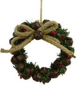 Decorated With Jute & Foliage Metal Bells Garland - 10cm