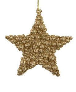 Glittered Rose Gold Bubble Texture Star Hanging Decoration - 95mm