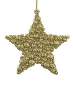 Glittered Champagne Bubble Texture Star Hanging Decoration - 95mm