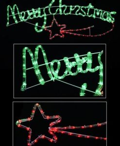 Merry Christmas Sign With Shooting Star Rope Light Silhouette - 1m