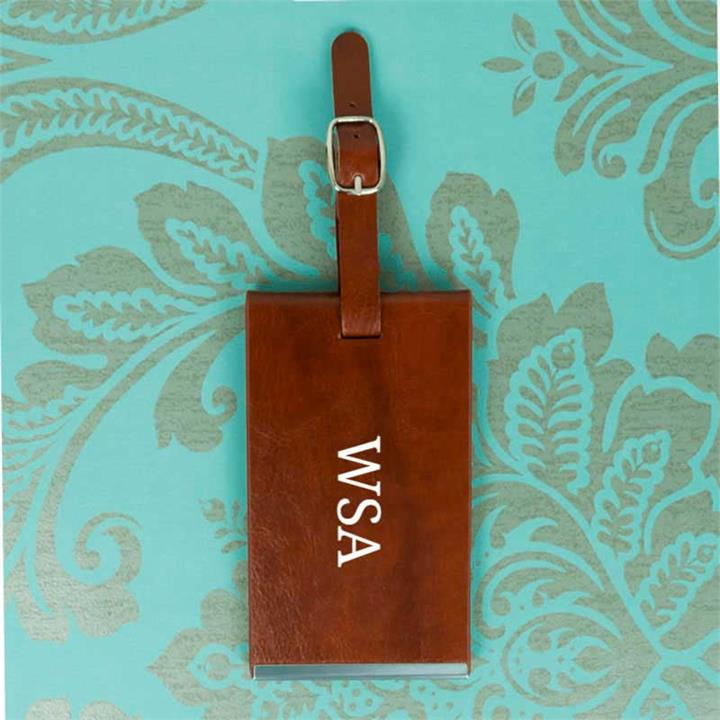 Brown Luggage Tag With Initials