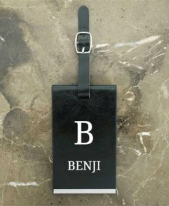 Personalised Initial and Name Black Luggage Tag