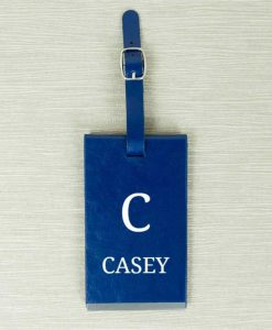 Personalised Initial and Name Blue Luggage Tag