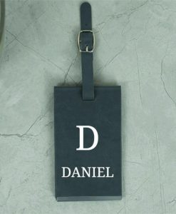 Personalised Initial and Name Grey Luggage Tag