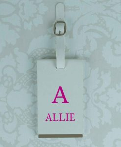 Personalised Initial and Name White Luggage Tag