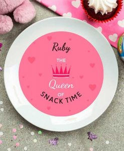 Personalised Plate with Hearts and Crown
