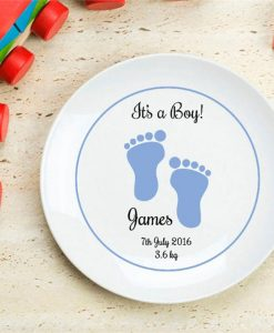 It's A Boy Footprint Personalised Plate