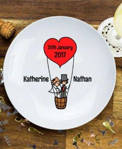 Hot Air Balloon Personalised Wedding Plate