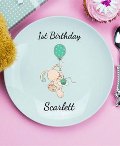 Birthday Bunny Personalised Plate
