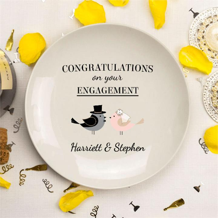Adorable Engagement Birds Personalised Plate