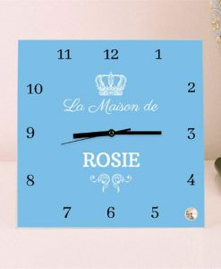 French Design Personalised Square Glass Clock
