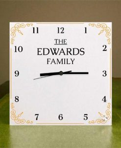 Family Name Personalised Square Glass Clock