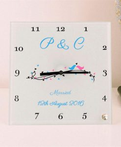 Wedding Day Personalised Square Glass Clock