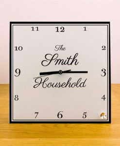 Household Personalised Square Glass Clock