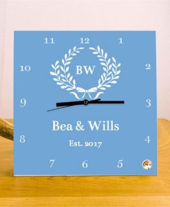 Romantic Couple Personalised Square Glass Clock