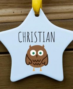Personalised Owl Star Ornament