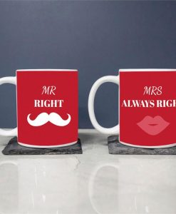Personalised Ceramic Mugs - Mr. and Mrs. Right