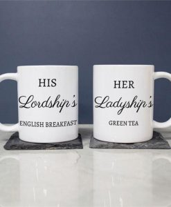 Personalised Ceramic Mugs - His Lordship's and Ladyship's