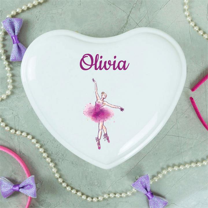 Little Dancers Personalised White Heart Jewellery Box