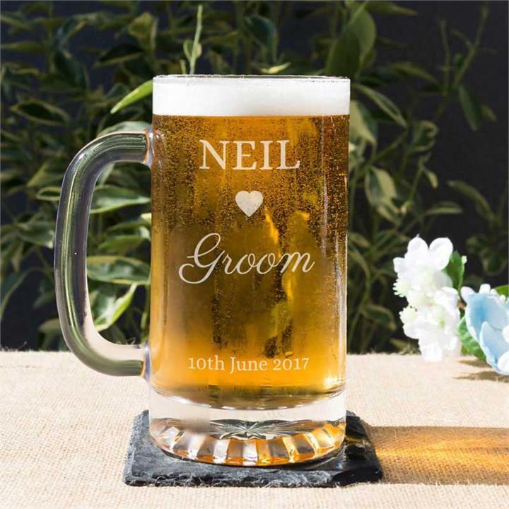 Glass Tankard For The Wedding Day