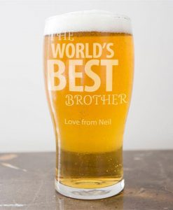 Personalised Brotherly Love Pint Glass