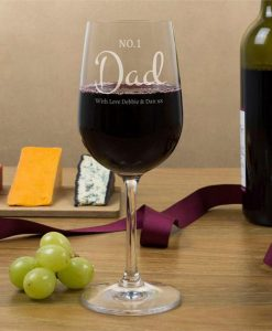 No.1 Dad Personalised Wine Glasses