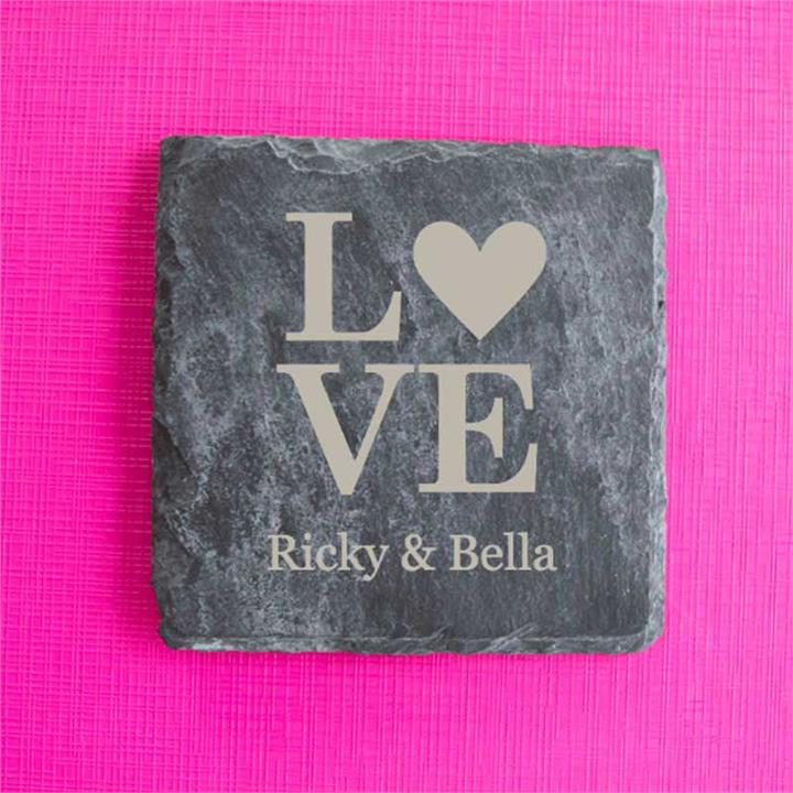Love Personalised Slate Coasters